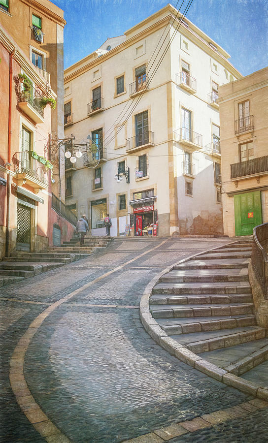 Uphill to the Cathedral Tarragona Spain Sketch by Joan Carroll
