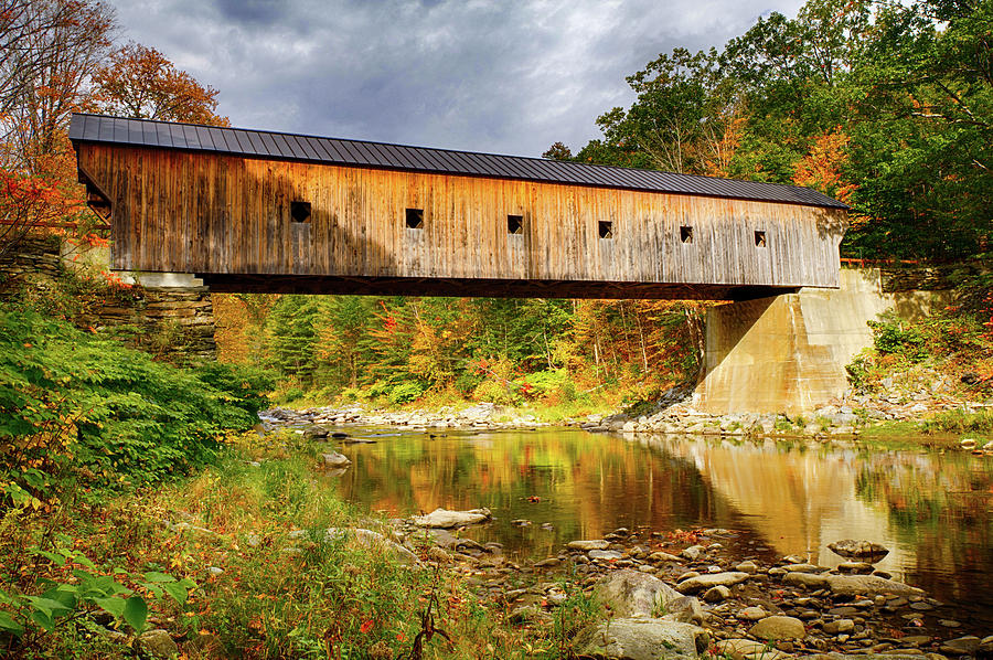 Upper Falls Covered Bridge in Vermont Autumn by Jeff Folger