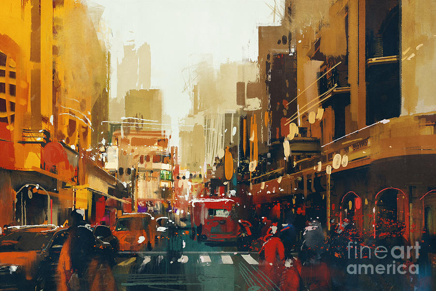City Digital Art - Urban City Street With Grunge by Tithi Luadthong