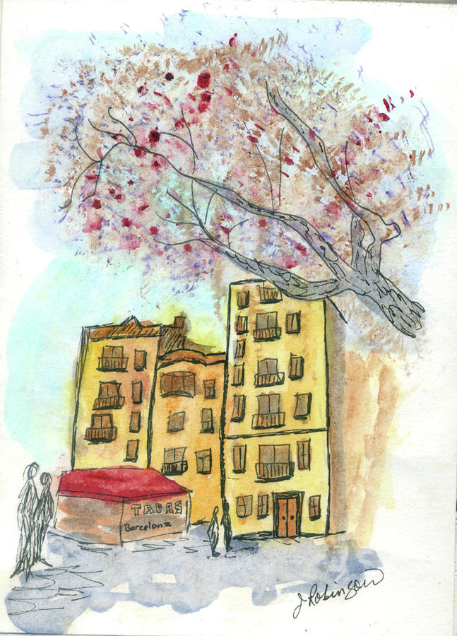 Urban Sketch in Barcelona by Judy Robinson