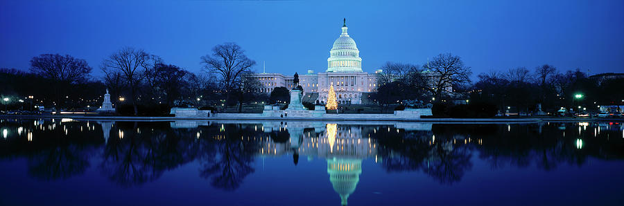 Us Capitol And Christmas Tree Photograph by Walter Bibikow