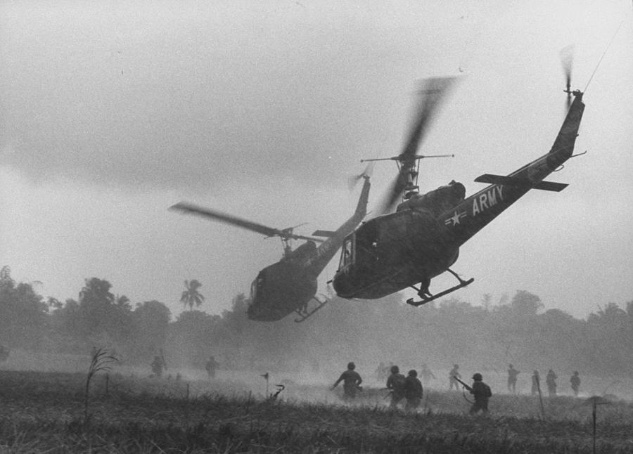 Us Helicopters Carrying South Vietnamese