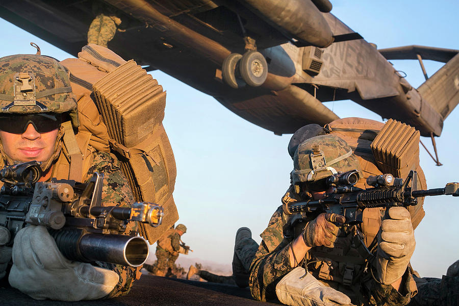 U.s. Marines Establish A Perimeter by Stocktrek Images