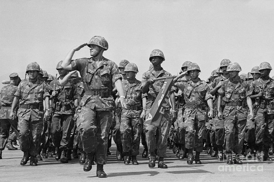 U.s. Marines Marching In Review Photograph by Bettmann