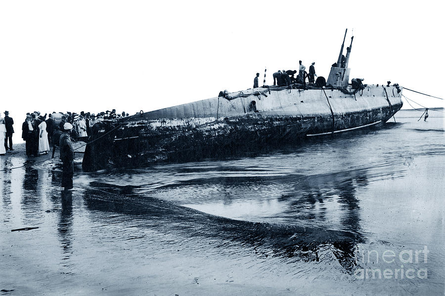 U.S. Navy  Submarine F-1  on beach at Port Watsonville, California 1912 by California Views Archives Mr Pat Hathaway Archives