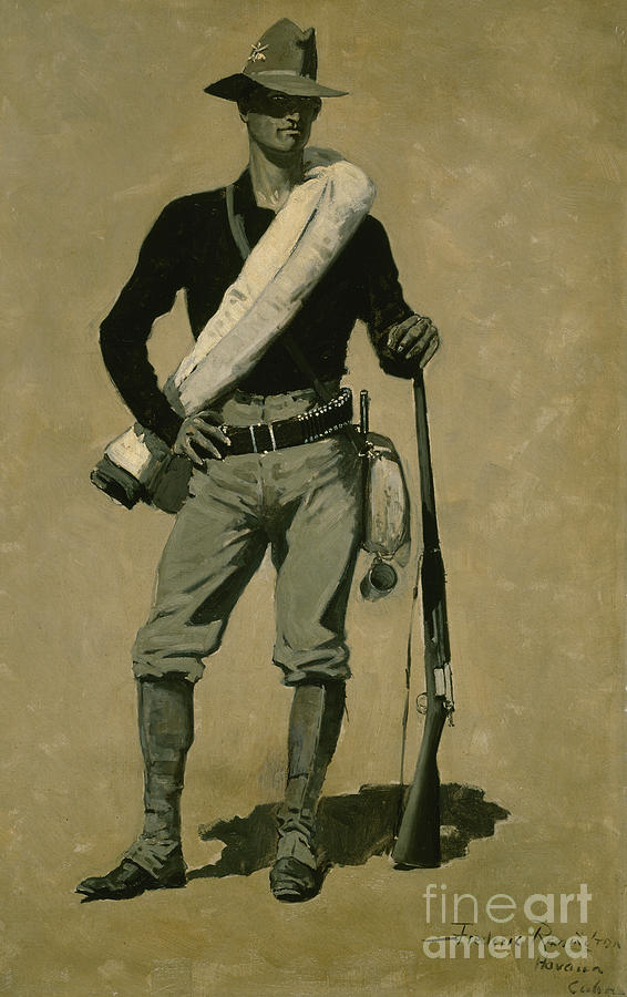 Army Painting - Us Soldier, Spanish-american War, A First Class Fighting Man, 1899 by Frederic Remington