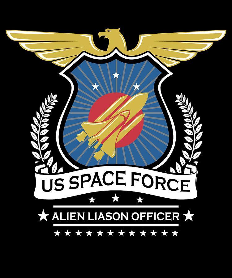 Nasa Digital Art - Us Space Force Crew Member Art Alien Liason Officer Dark by Nikita Goel