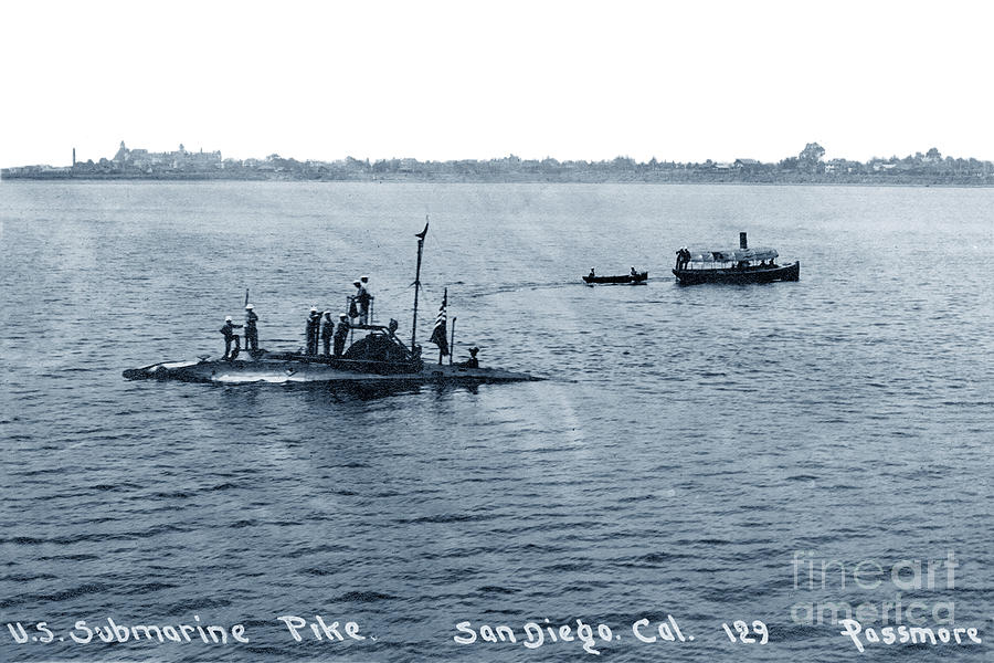 U.S. Submarine Pike off San Diego, California,  with Sailors on  by California Views Archives Mr Pat Hathaway Archives