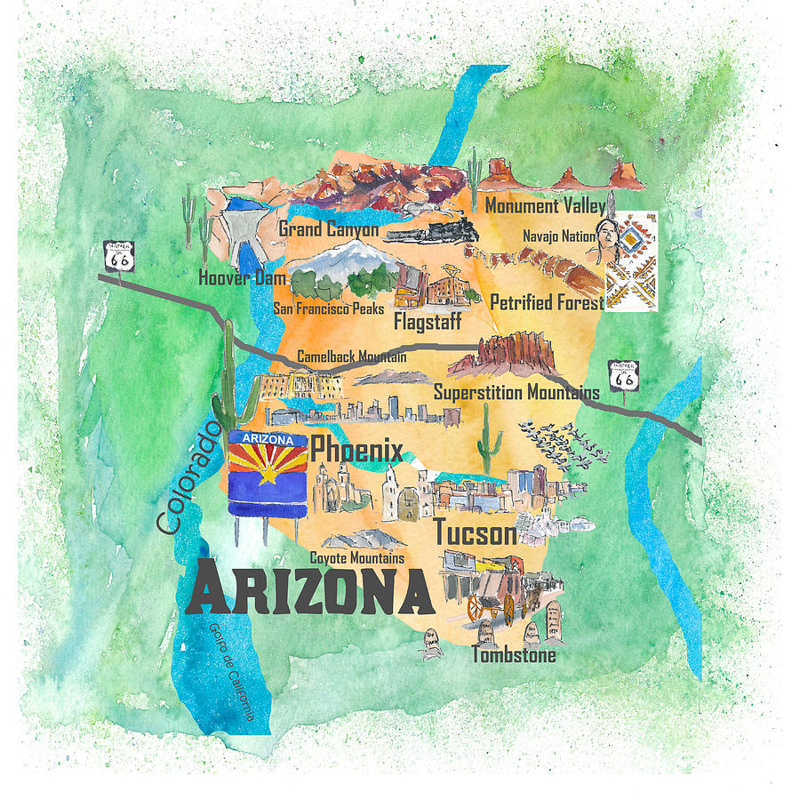 Usa Arizona State Travel Poster Illustrated Art Map Painting by M ...