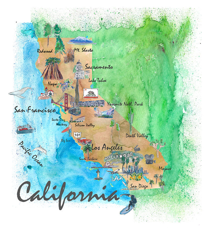 photograph regarding California State Map Printable known as United states of america California Place High-quality Artwork Print Retro Basic Map With Touristic Highlights