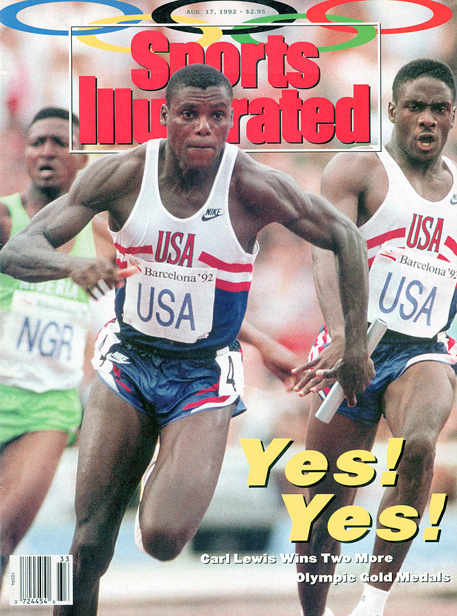Usa Carl Lewis And Dennis Mitchell, 1992 Summer Olympics Sports Illustrated Cover Photograph by Sports Illustrated
