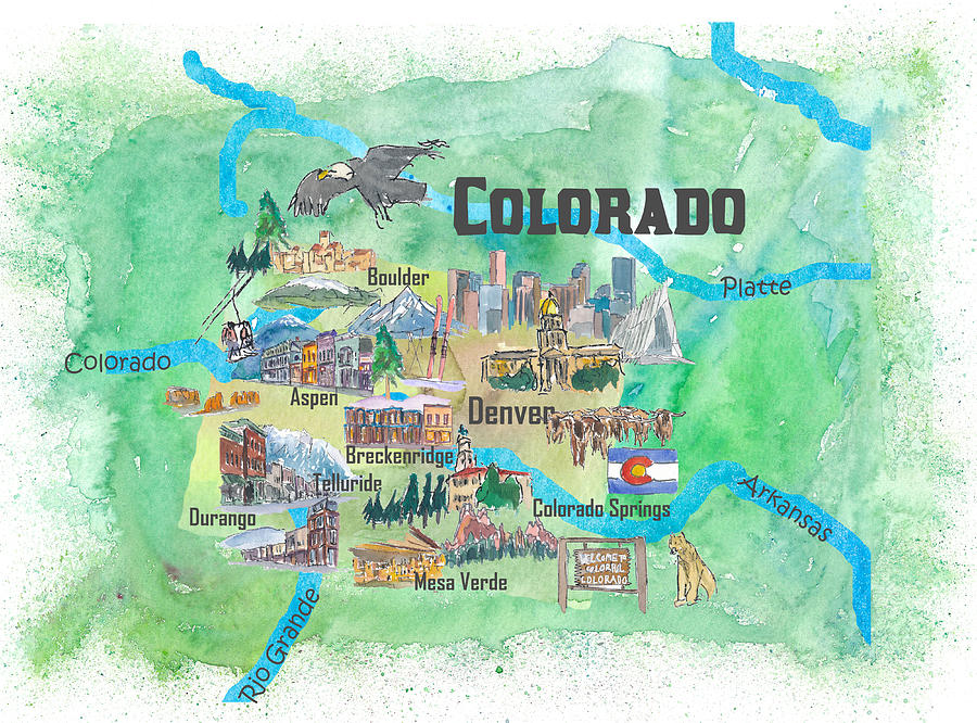 Usa Colorado State Travel Poster Illustrated Art Map Painting by M on