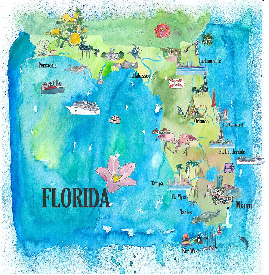 Usa Map Florida State.Usa Florida State Fine Art Print Retro Vintage Map With Touristic Highlights
