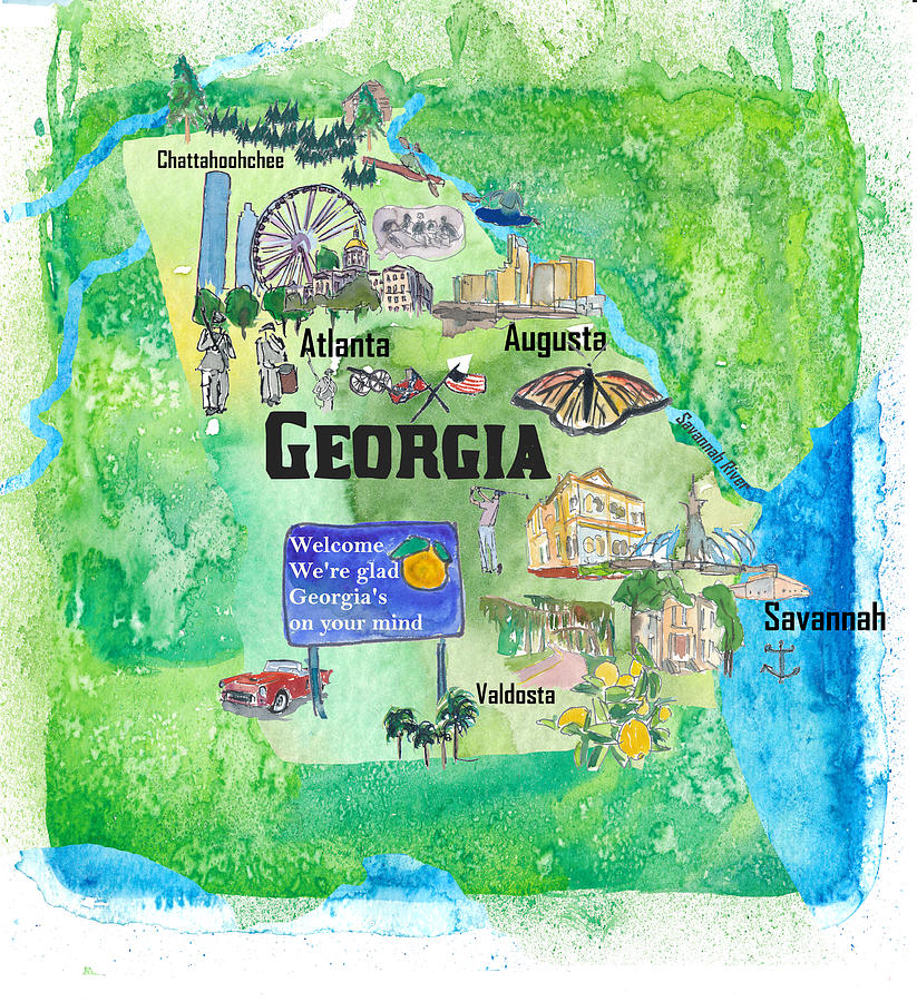 Usa Georgia State Travel Poster Map With Tourist Highlights by M Bleichner