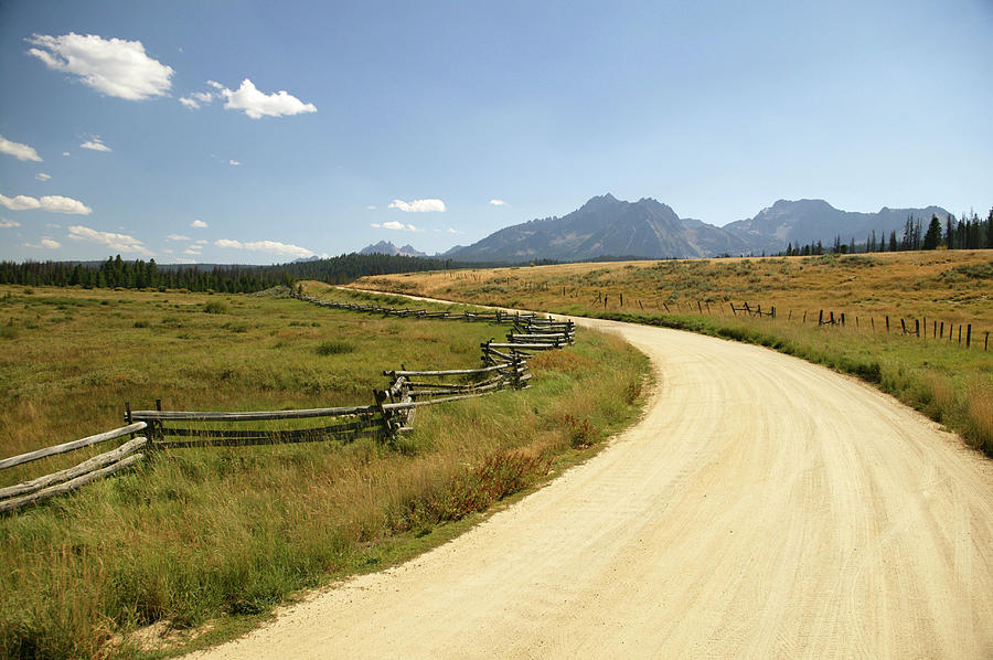 Usa, Idaho, Near Stanley, Dirt Road And Photograph by Steve Smith
