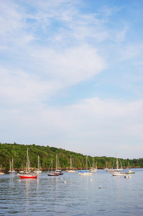 Usa, Maine, Camden, Yachts Moored In Photograph by Daniel Grill