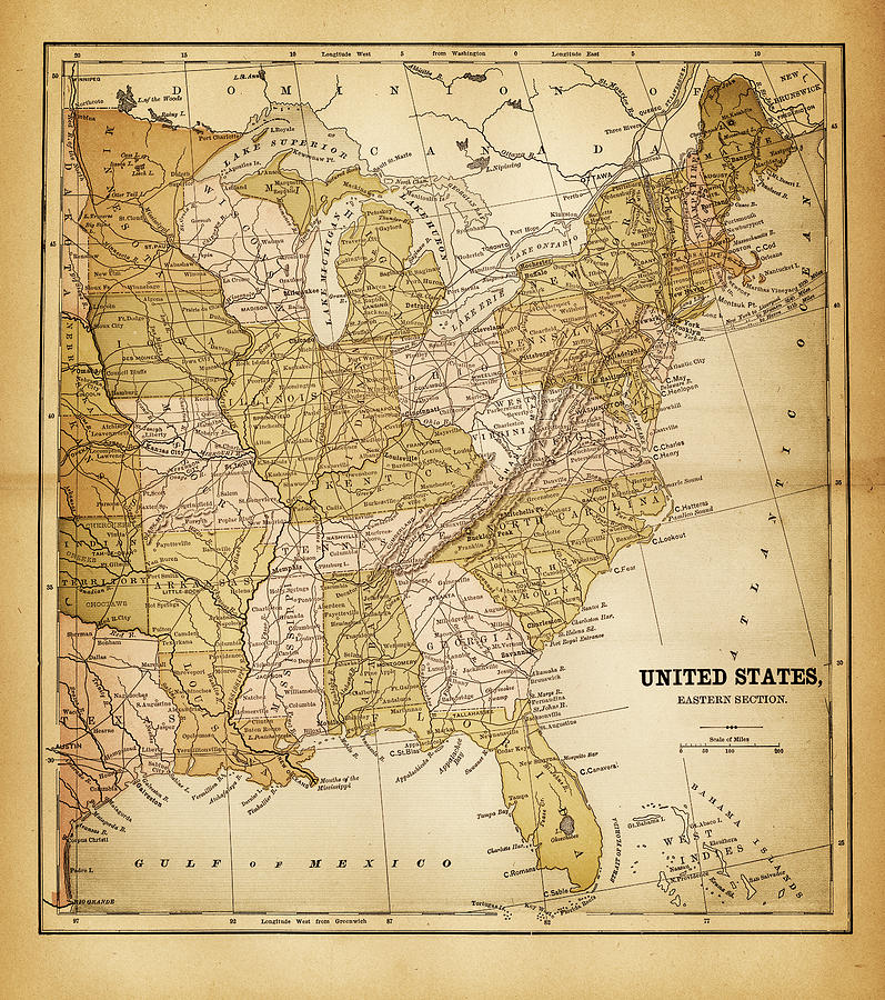 Usa Map 1884 Digital Art by Thepalmer