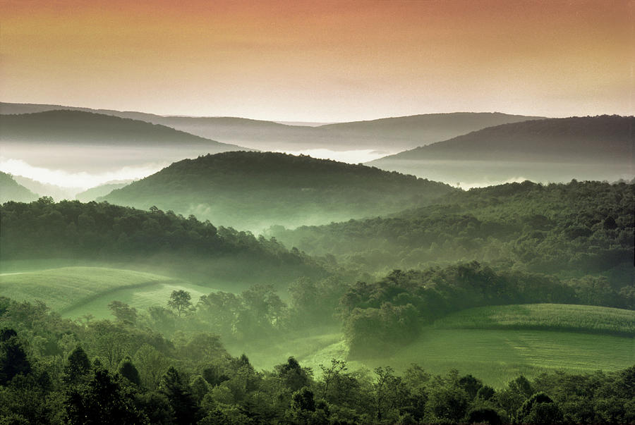 Usa, Maryland, Rolling Verdant Hills Photograph by Greg Pease
