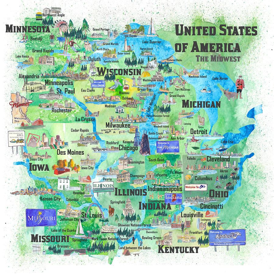 Usa Midwest States Travel Map Mn Wi Mi Ia Ky Il In Oh Mo With_highlights by  M Bleichner
