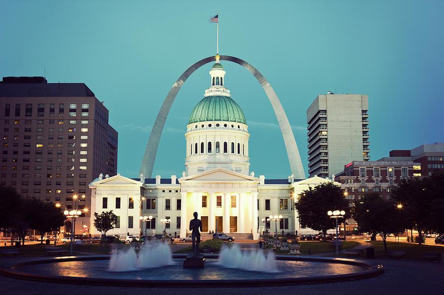 Usa, Missouri, St. Louis, Fountain And Photograph by Tetra Images - Henryk Sadura