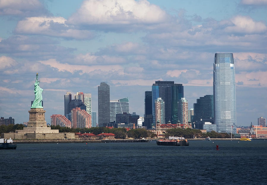 Usa, New York City, Skyline With Statue Photograph by Fotog