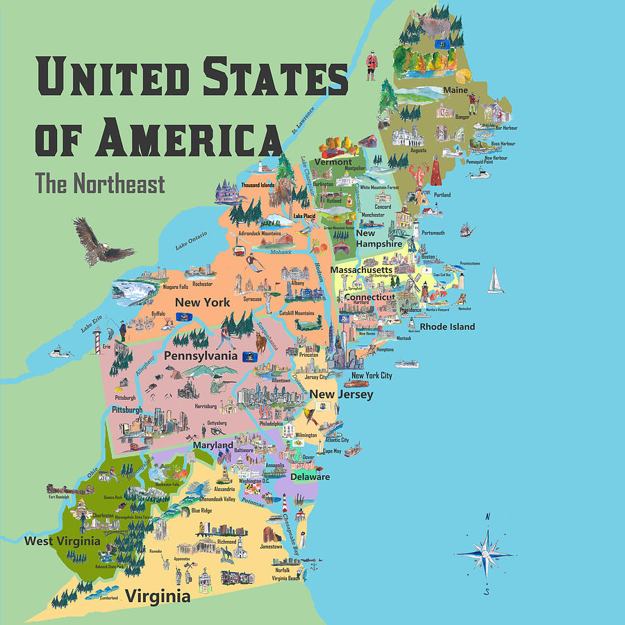 Usa Northeast States Colorful Travel Map Va Wv Md Pa Ny Ms Ct Ri Ve De Nj  With Highlights And Favori
