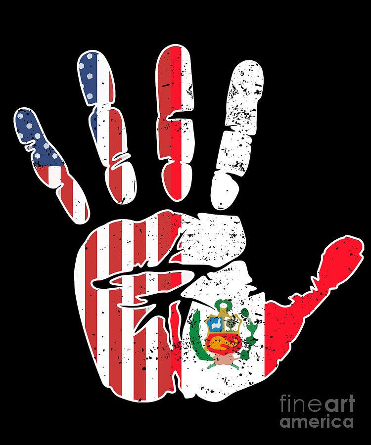 Usa Peru Handprint Flag Proud Peruvian American Heritage Biracial American Roots Culture Descendents