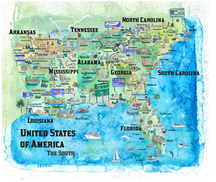 Usa Southern States Travel Poster Map Florida Louisiana Mississippi