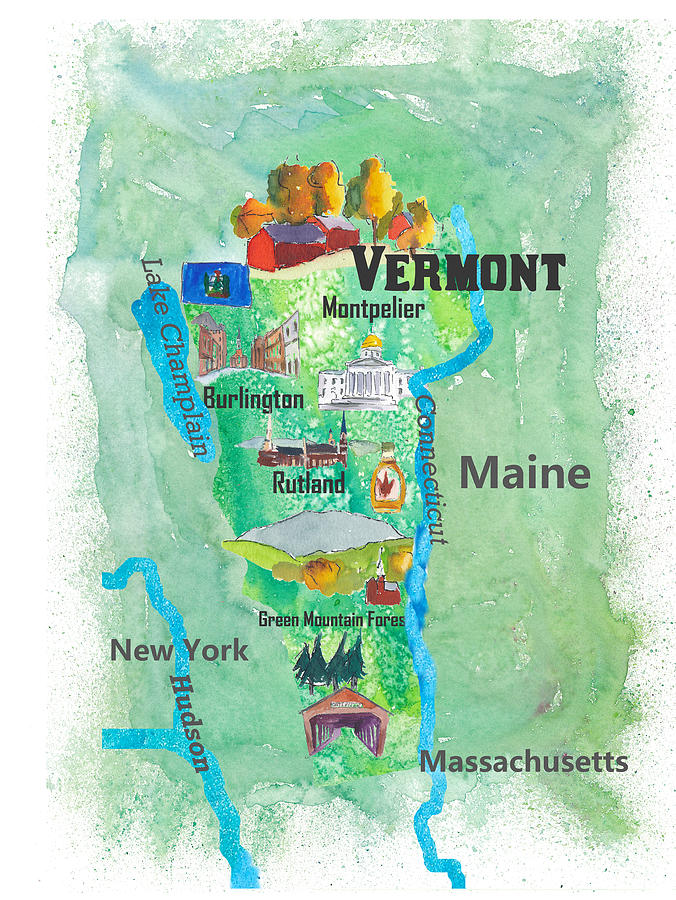 Usa Vermont State Travel Poster Map With Touristic Highlights