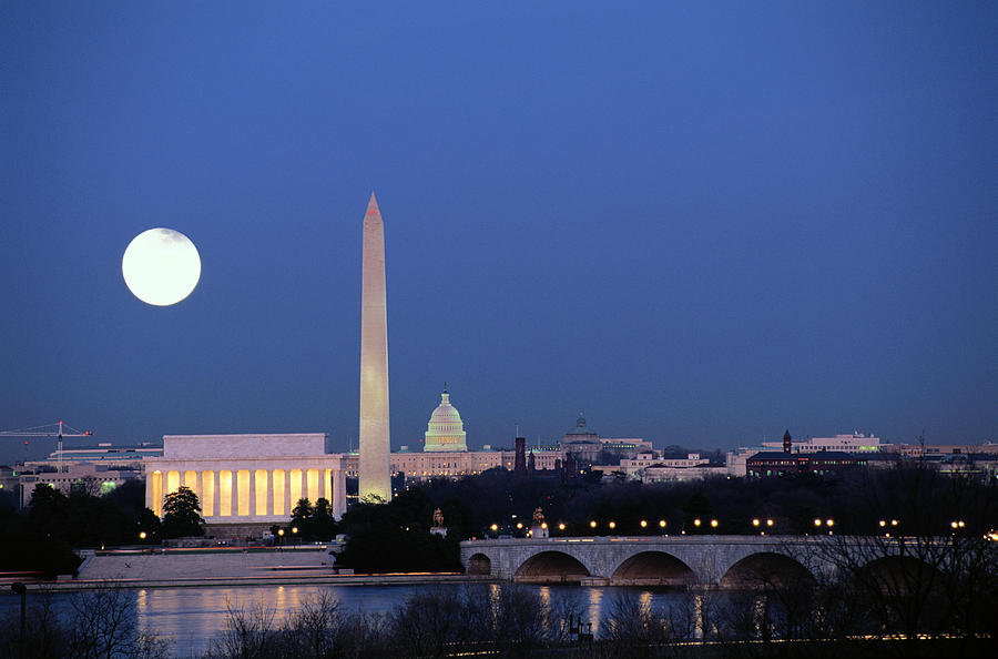 Usa, Washington Dc Skyline, Night With Photograph by James P. Blair