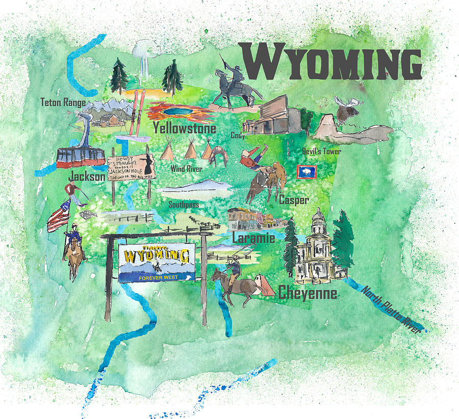Usa Wyoming State Travel Poster Illustrated Art Map