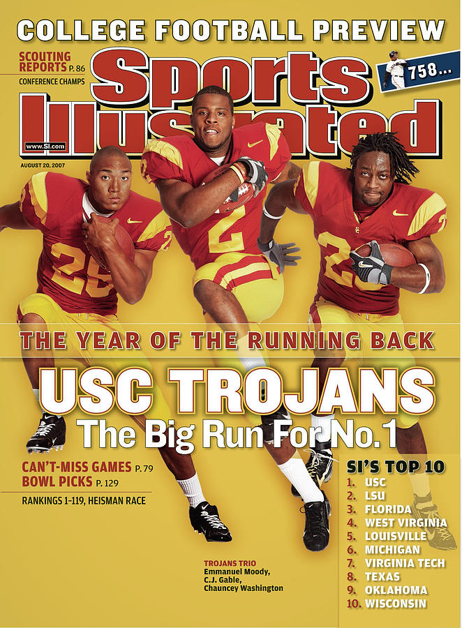 Usc Emmanuel Moody, C.j. Gable, And Chauncey Washington Sports Illustrated Cover Photograph by Sports Illustrated