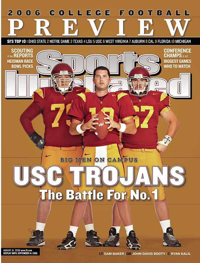 Usc Qb John David Booty, Sam Baker, And Ryan Kalil Sports Illustrated Cover Photograph by Sports Illustrated