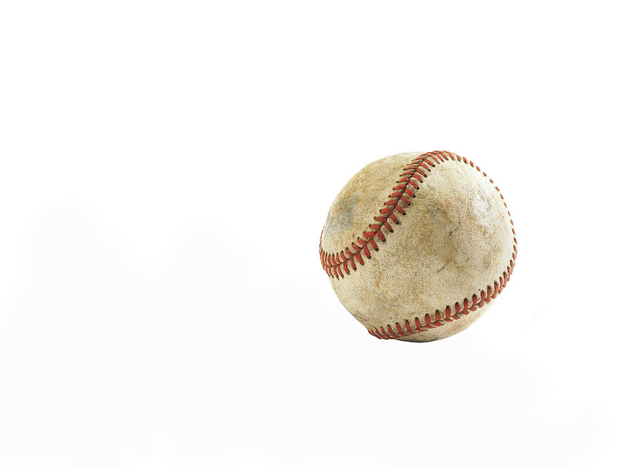Used Baseball On White Background Photograph by Thomas Northcut