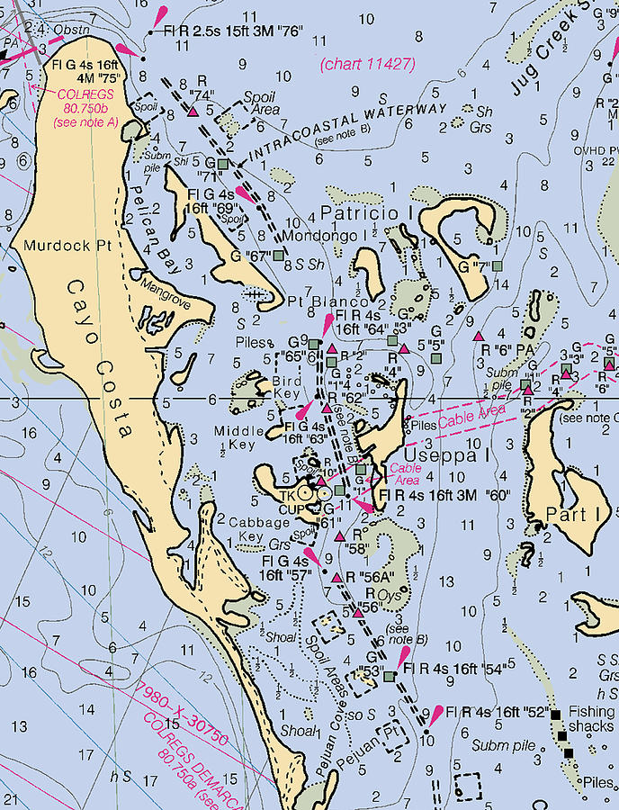 Useppa,Cabbage Key,Cayo Costa Nautical chart by Paul and Janice Russell