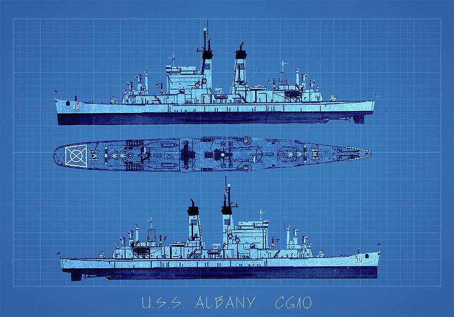 U S S ALBANY CG 10 by Max Huber