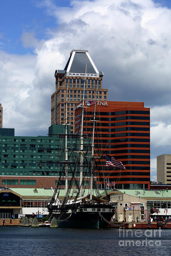 USS Constellation and Commerce Place Building Baltimore by James Brunker