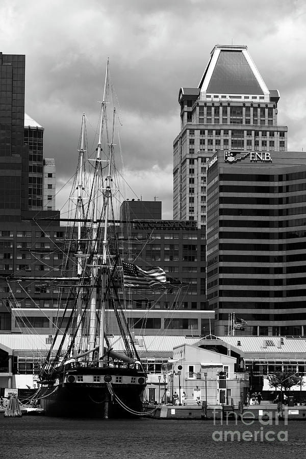 USS Constellation and Commerce Place in Monochrome Baltimore by James Brunker