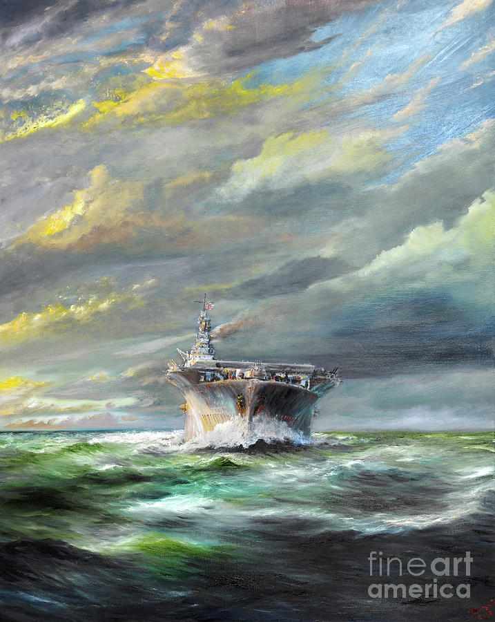 Uss Painting - Uss Enterprise Returns To Pearl by Vincent Alexander Booth