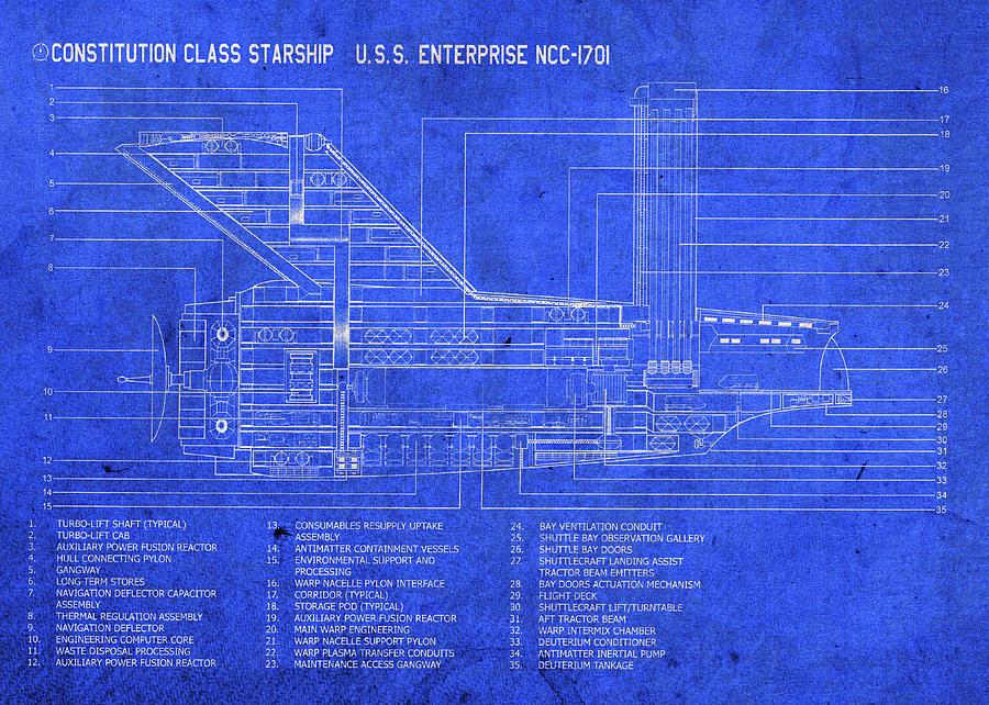 Uss Enterprise Starship Blueprints Plans Mixed Media by Design ... on uss vengeance schematics, gilso star trek schematics, enterprise-d schematics, ds9 schematics, ncc 1701 e schematics, star trek lcars schematics, uss ncc-1701 d, star trek enterprise schematics, uss excelsior schematics, star trek voyager schematics, uss voyager lcars, uss defiant schematics, enterprise-j schematics, uss voyager schematics, uss reliant schematics, uss voyager specifications, enterprise nx-01 schematics, robotech schematics, new enterprise ncc-1701 schematics, enterprise-e schematics,