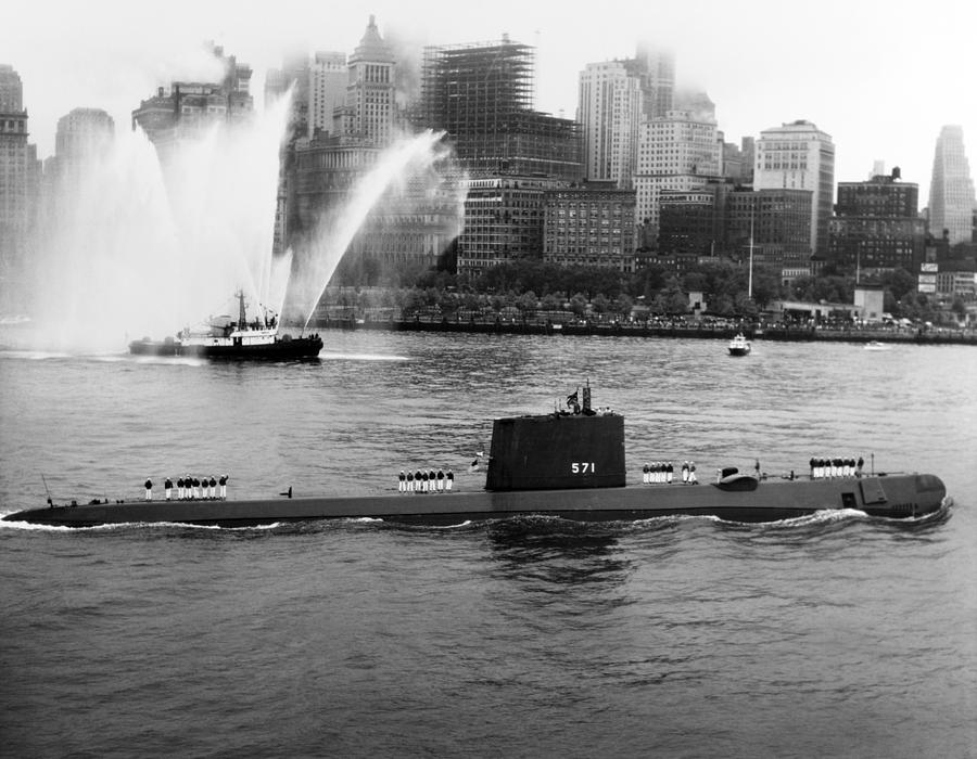 Uss Nautilus Photograph - Uss Nautilus Anchored In New York Harbor - 1958 by War Is Hell Store