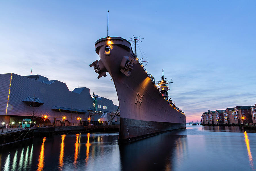 Uss Wisconsin At Sunset II Photograph
