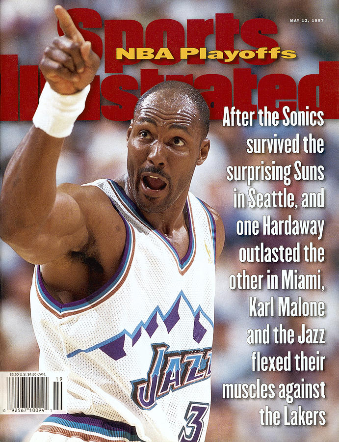 Utah Jazz Karl Malone, 1997 Nba Western Conference Sports Illustrated Cover Photograph by Sports Illustrated