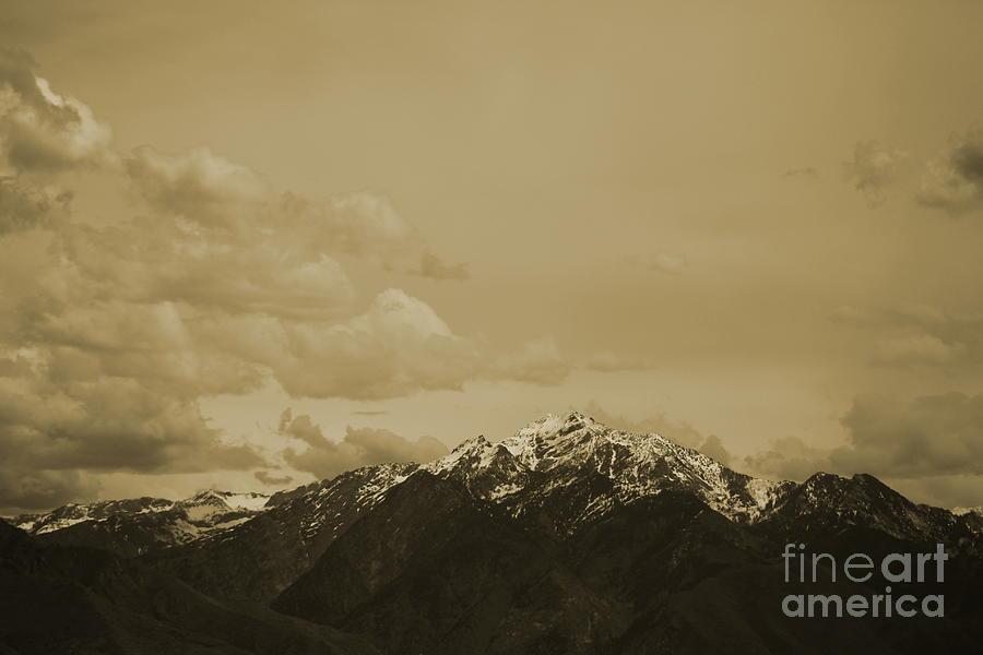Mountain Photograph - Utah Mountain in Sepia by Colleen Cornelius
