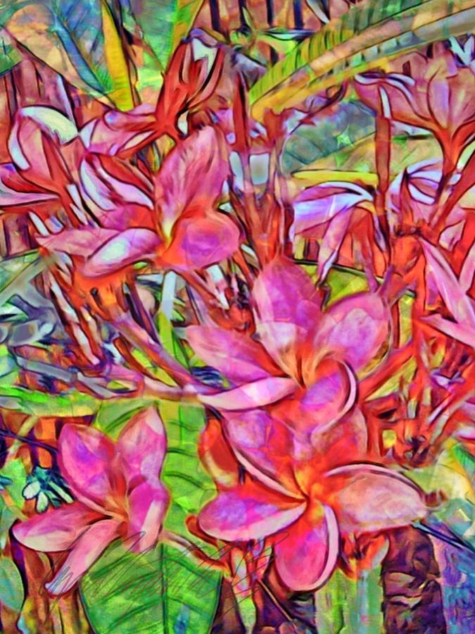 V Brilliant Magenta Frangipani Flowers - Vertical  by Lyn Voytershark