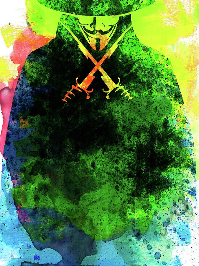 Movies Mixed Media - V For Vendetta Watercolor II by Naxart Studio