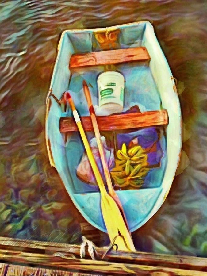 V1 Rowboat with Banana Bunch - Vertical  by Lyn Voytershark