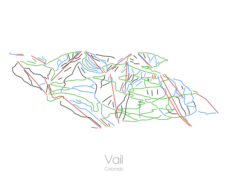 Vail Colorado Co Ski Snowboard Resort Trial Map by Drew Suss