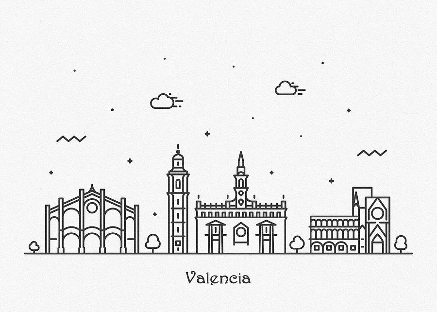 Valencia Cityscape Travel Poster by Inspirowl Design