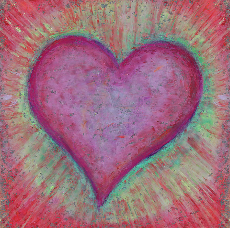 Red Pastel - Big pink heart. Abstract drawing in oil pastels. Cute gift for Valentines day by Elena Sysoeva